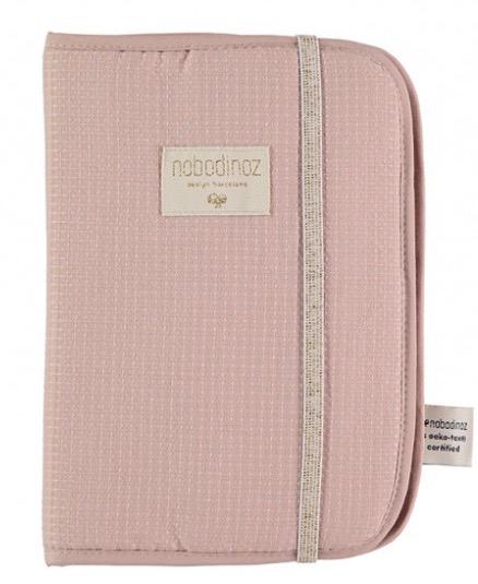 Nobodinoz - Protège carnet de santé nid d'abeille misty pink