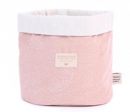 Nobodinoz - Panier Small white bubble/misty pink