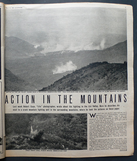 Robert Capa 'Action in the Mountains' Illustrated 25th March 1944