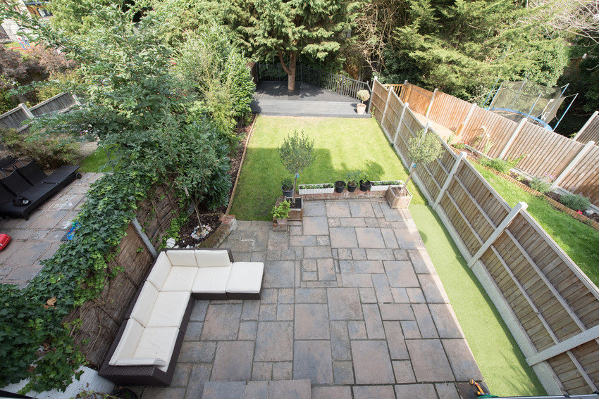 Aerial shot of nice summery garden and patio area