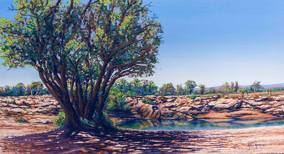 Beyond the Shady Trees by Helen Komene Art