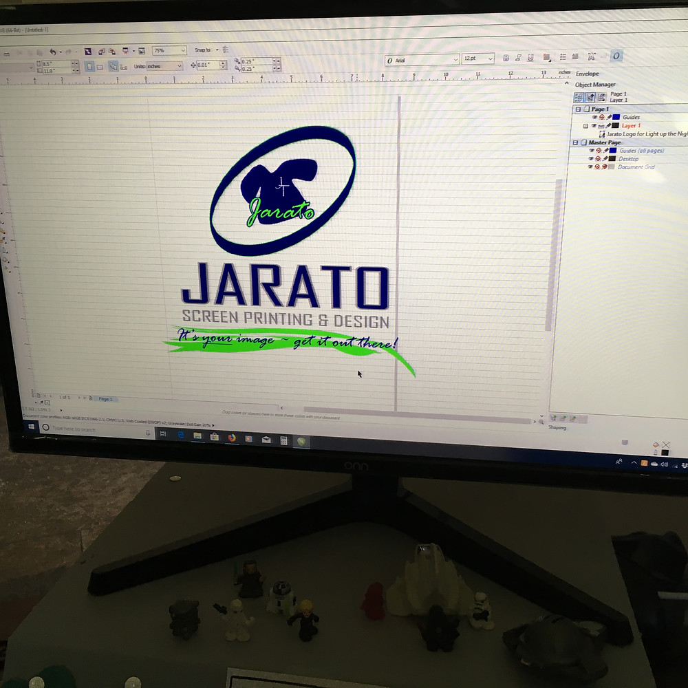 Jarato logo on screen in graphics program
