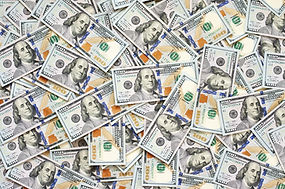 Pile of new design US dollar bills as ba
