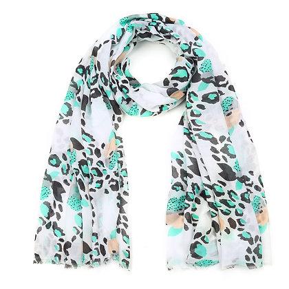 Sjaal groen / wit / zwart