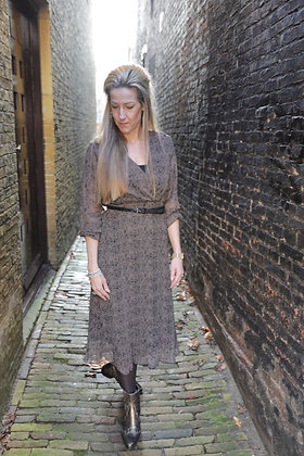 Lange jurk taupe/zwart