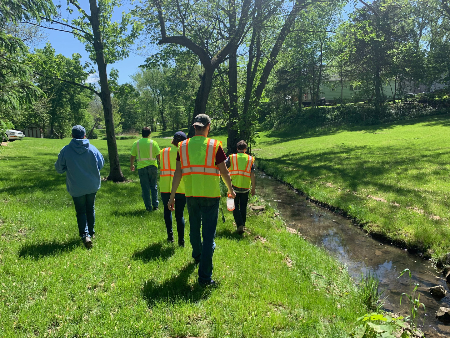 Summer members surveying for the City of Oskaloosa.