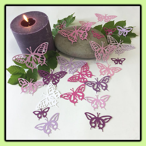 Swallowtail butterflies; lilac, pinks, white and patterned