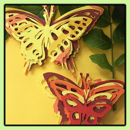 Swallowtail butterflies; reds, orange, yellow and patterned