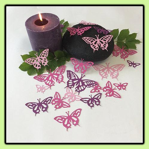 Swallowtail butterflies; three pinks