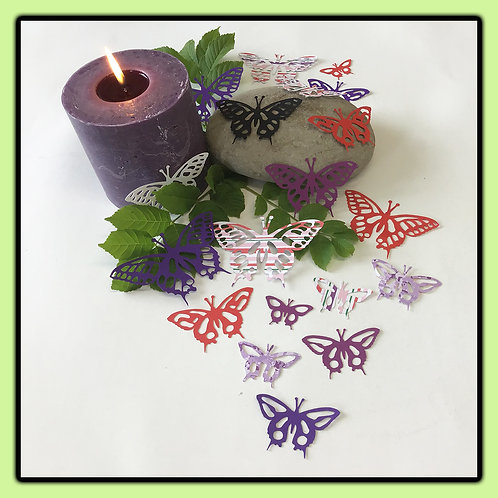 Swallowtail butterflies; red, purples, white and patterned