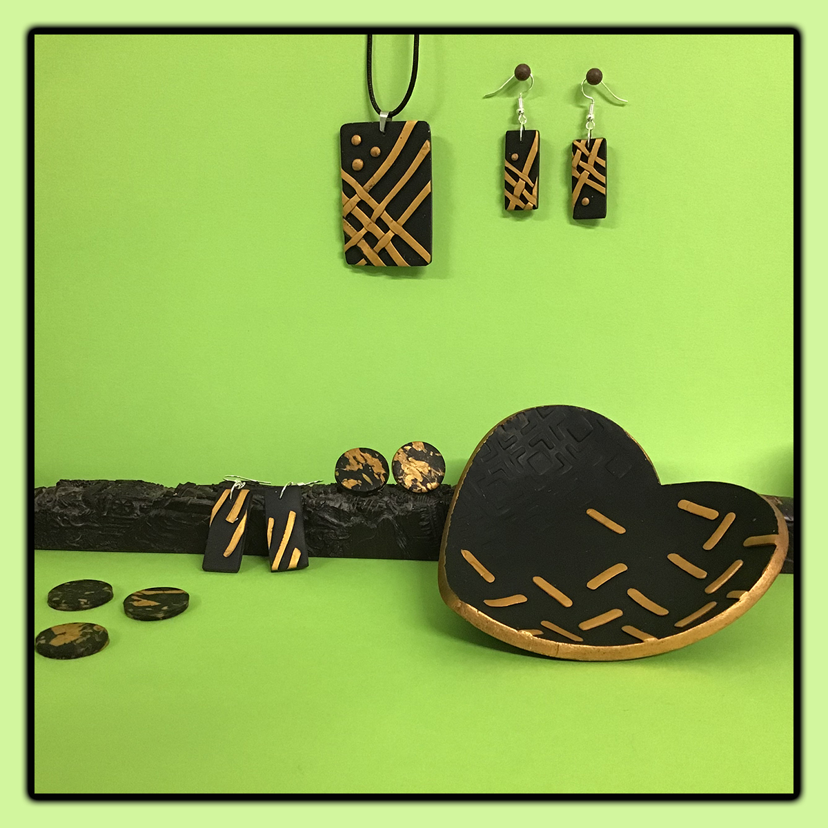 Black and gold accents