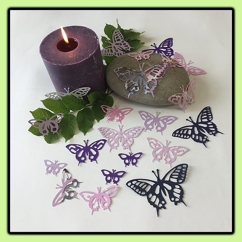 Swallowtail butterflies; lilac, pink, purple, black and patterned