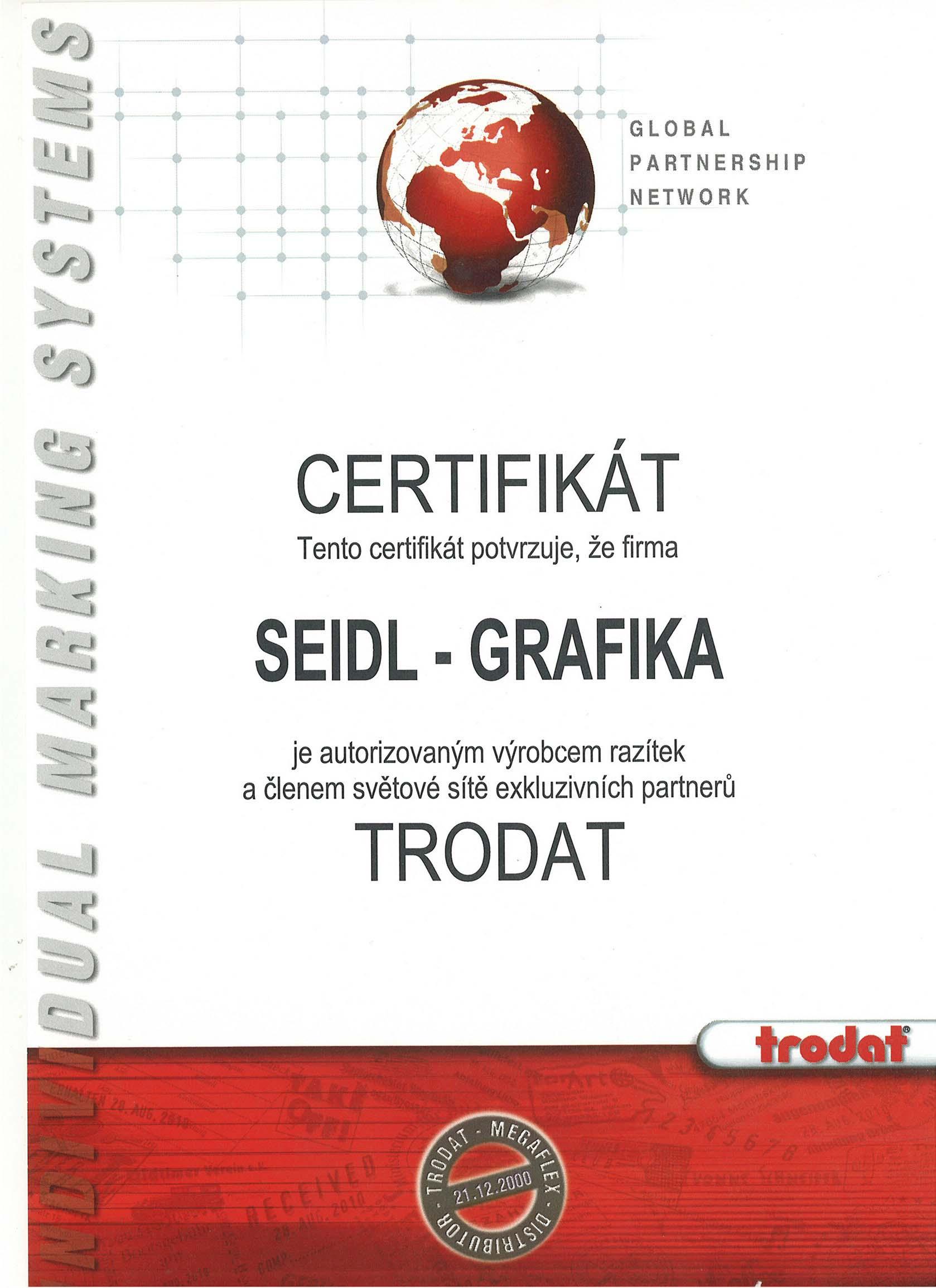 Certifikát Trodat