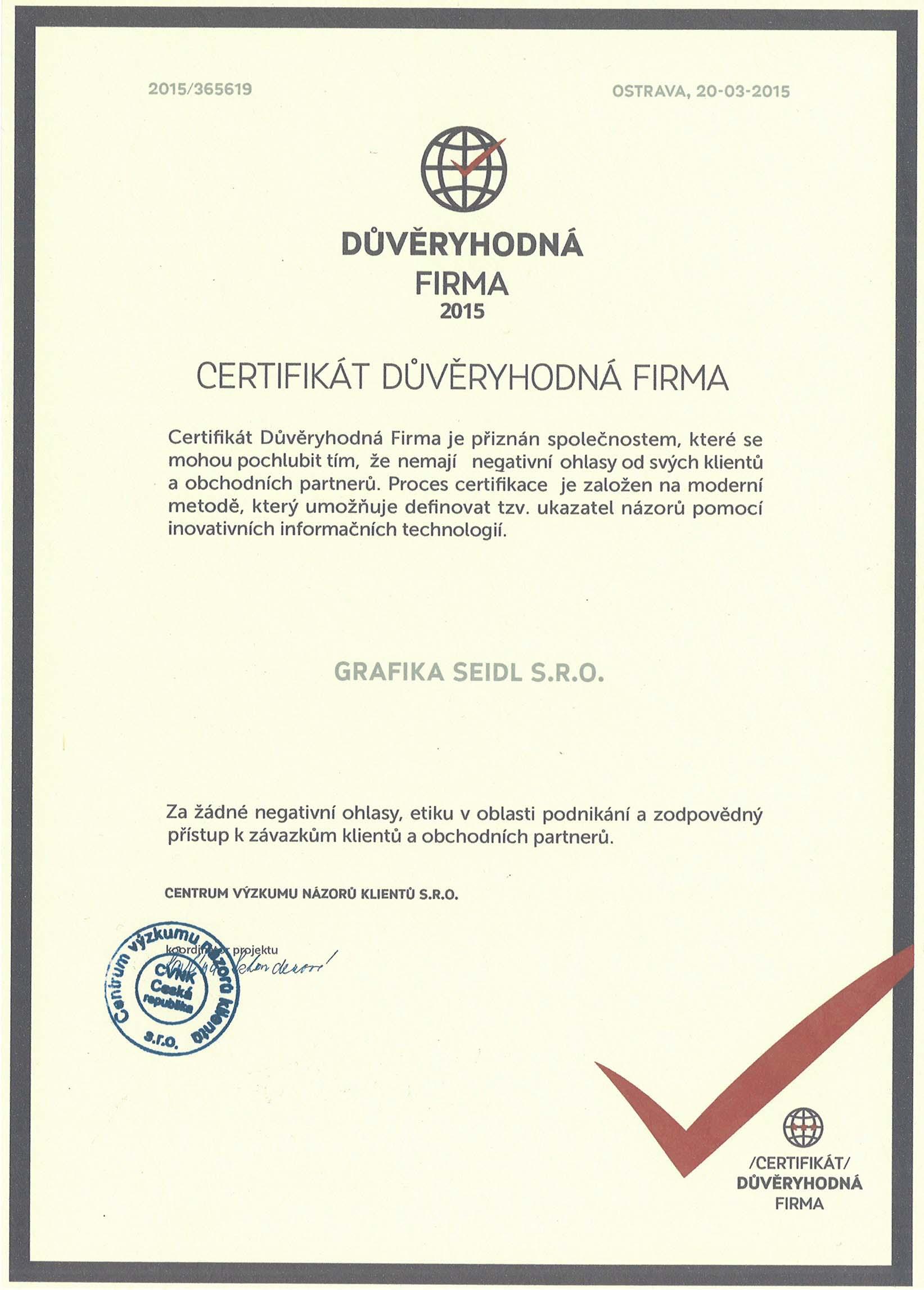 Certifikát důvěryhodná firma