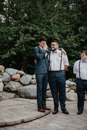 Groom reacting to seeing his Bride for the first time