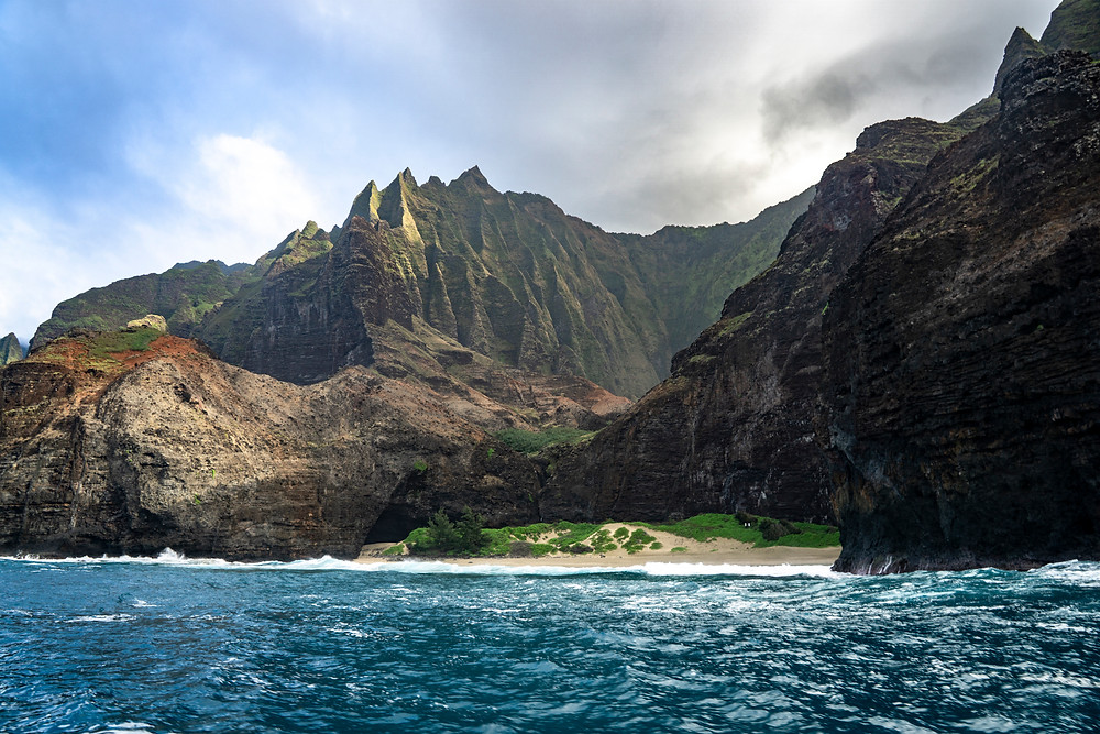 Napali Küste Kauai, Hawaii, Sunset Cruise, Holoholo Charters, Boattrip, Coastline