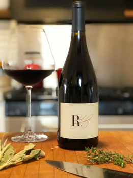 Cooking with a glass of Pinot Noir.