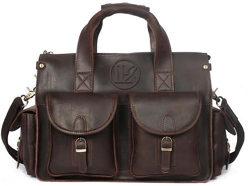 H122, ILJ Men's Rustic leather Briefcase (Chocolate)