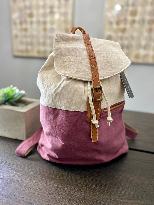 H123, Leather & Canvas Backpack (Mauve)