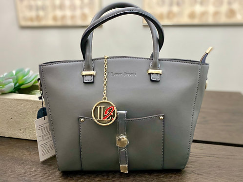 H102, 100% Italian Leather Handbag (Grey)