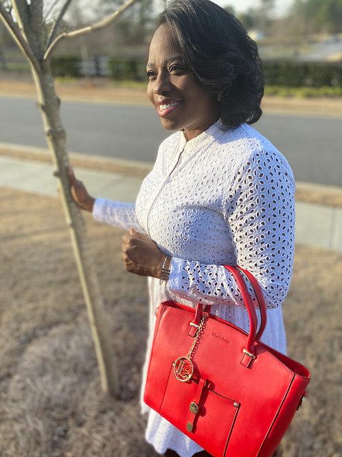 H101, 100% Italian Leather Handbag (Red)