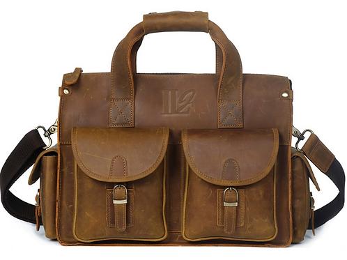 H123, ILJ Men's Rustic leather Briefcase (Brown)