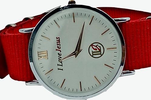 A122, ILJ Watch Red Nylon Band
