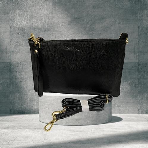 H140, ILJ Leather Clutch (Black)