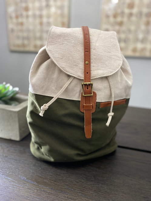 H122, Leather & Canvas Backpack (Green)
