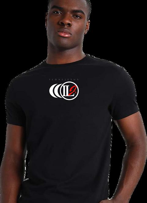 S100, ILJ Men's 100% Cotton T-Shirt (Blk) with monogram ILJ Logo