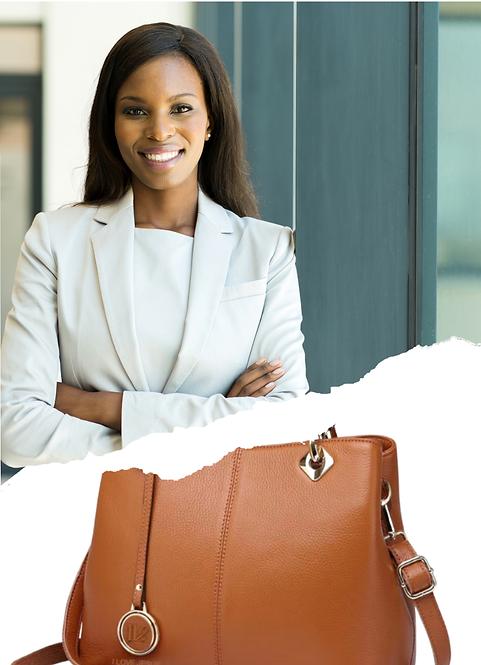H106, ILJ Leather Tote Handbag (Brown)