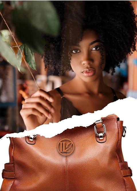 H126, ILJ Leather Tote Cross Body Handbag (Brown)