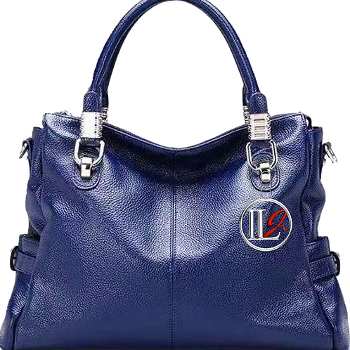 H125, ILJ Leather Tote Cross Body Bag (Blue)