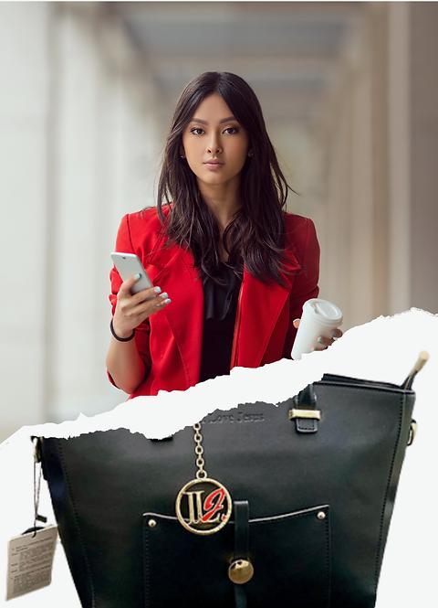 H100, 100% Italian Leather Handbag (Black)