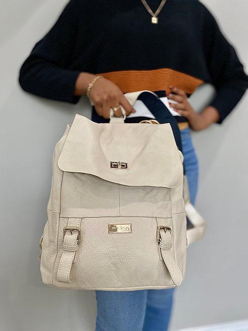 H124, ILJ Leather Backpack (Cream)