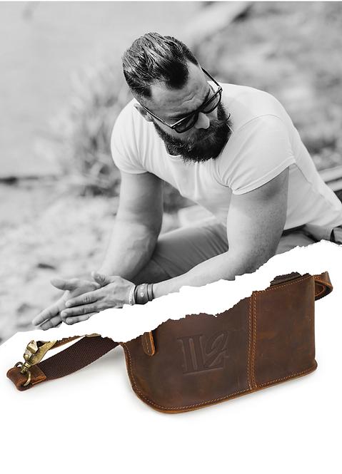 H110, ILJ 100% Leather Waist/Sling Bag (Brown)