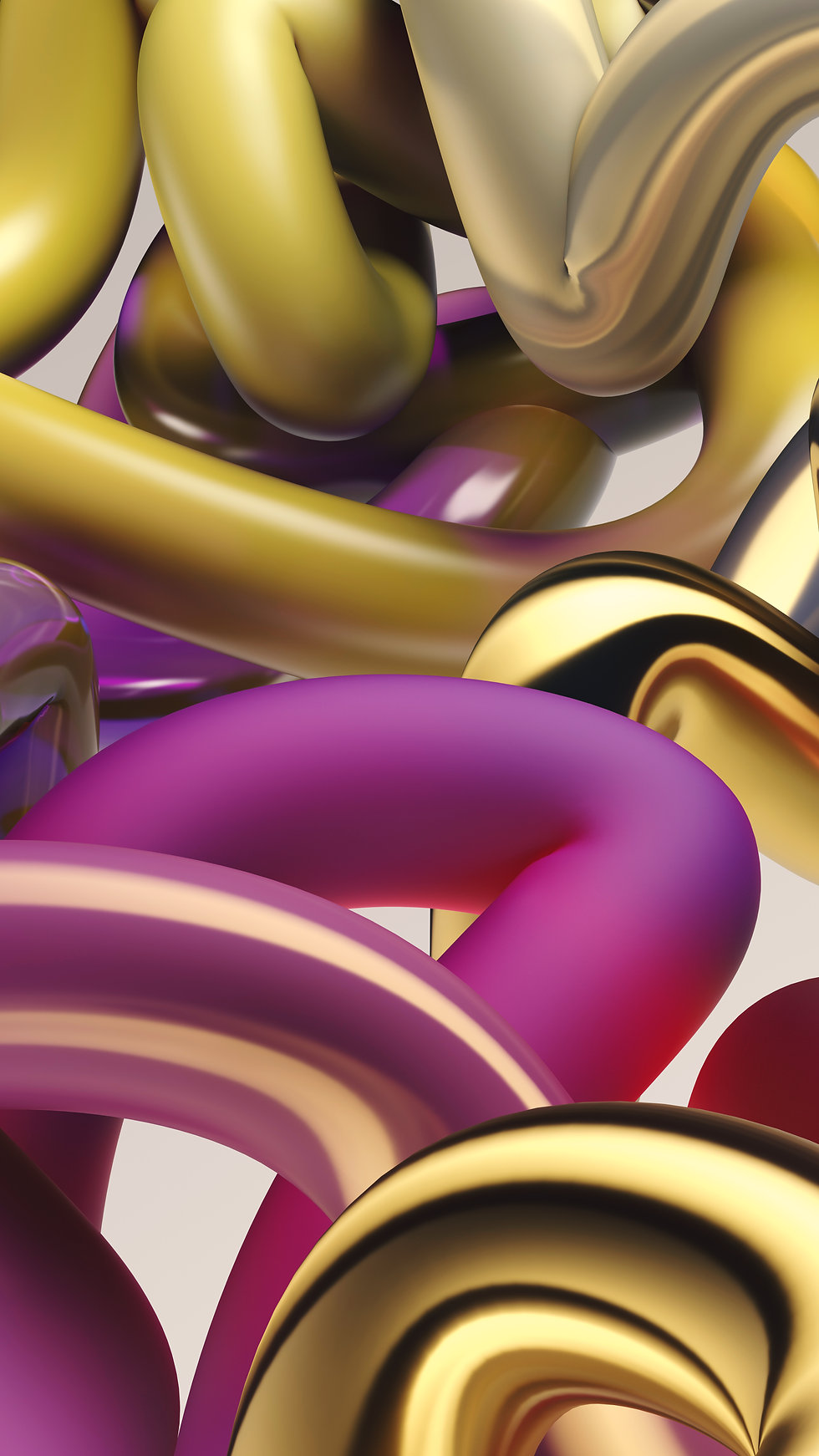A tangle of pipes made of a matte and shiny materials