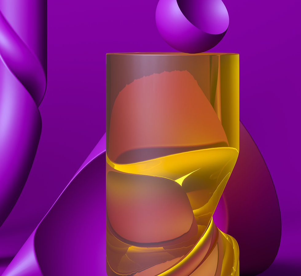 Glossy transparent yellow cylinder with light reflections over purple background