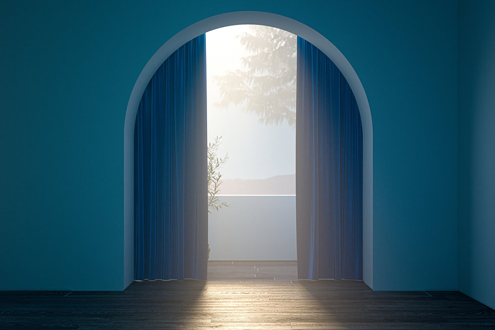 Interior space with a blue arch wall that partly covered with a curtain