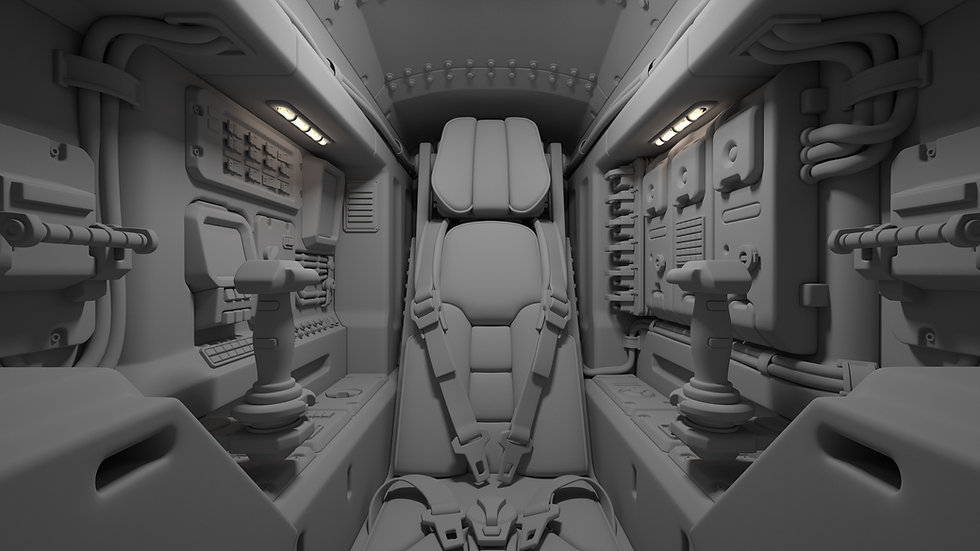 Inner view of a futuristic vehicle