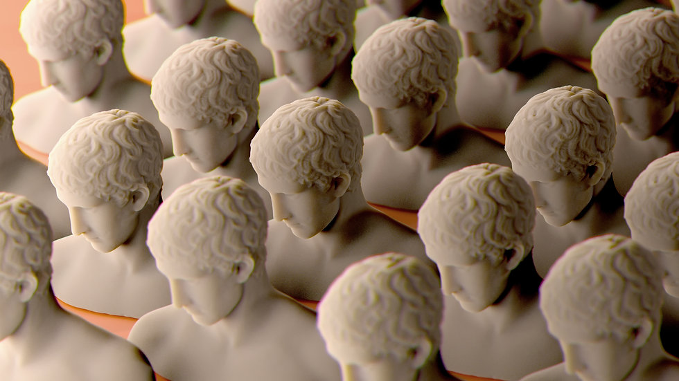 Group of identical portrait sculptures stands in rows