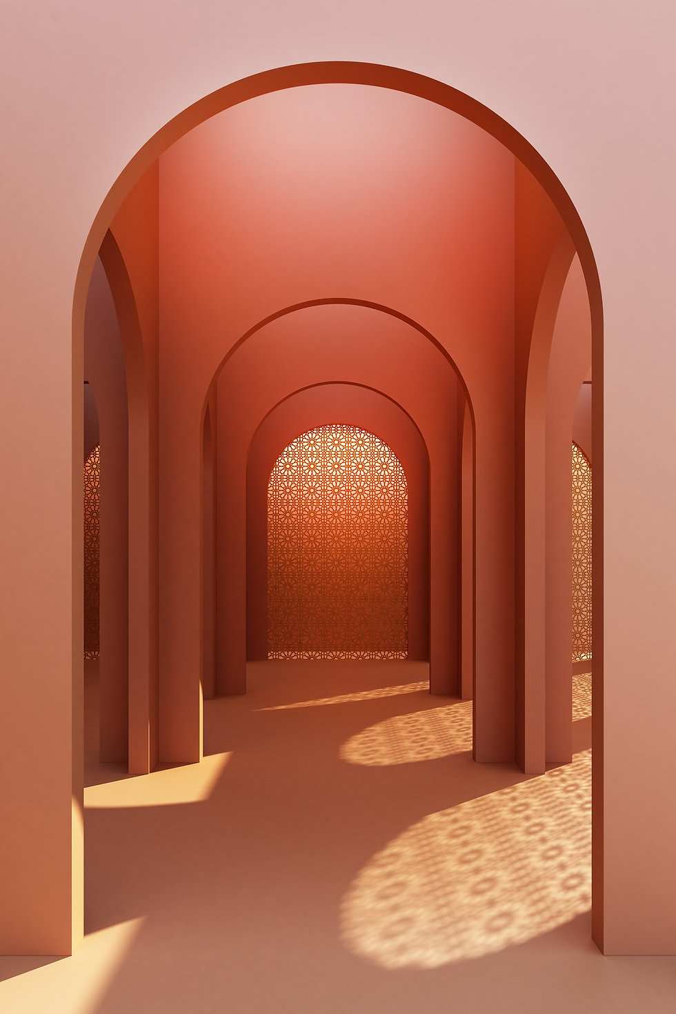 Tangerine arches walls highlighted in daylight