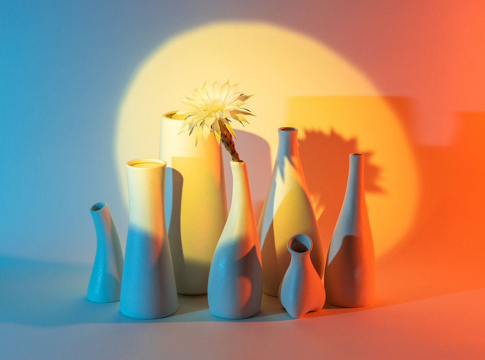 Ceramics vases with special lighting effect