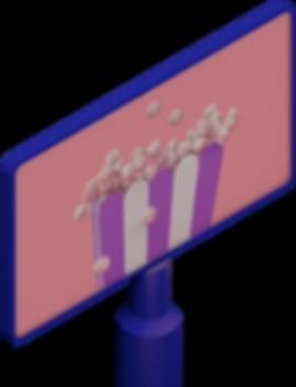 3D illustration of popcorn on a movie screen