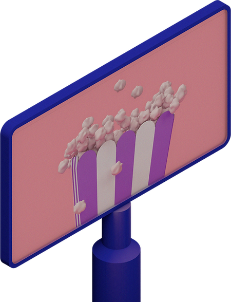 3D illustration of popcorn on a movie screen