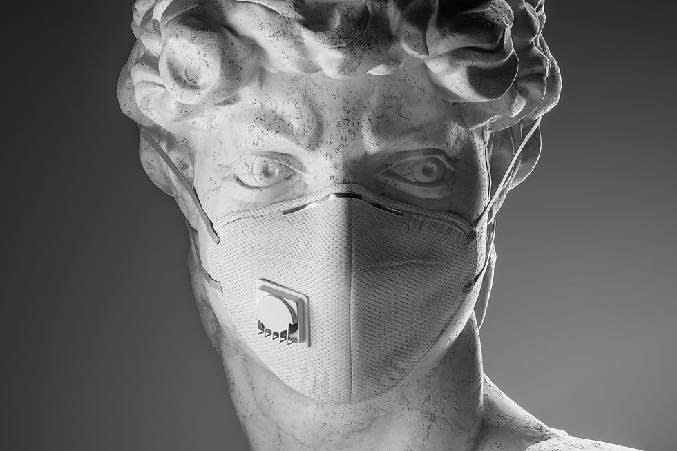 Portrait sculpture with respirator face mask