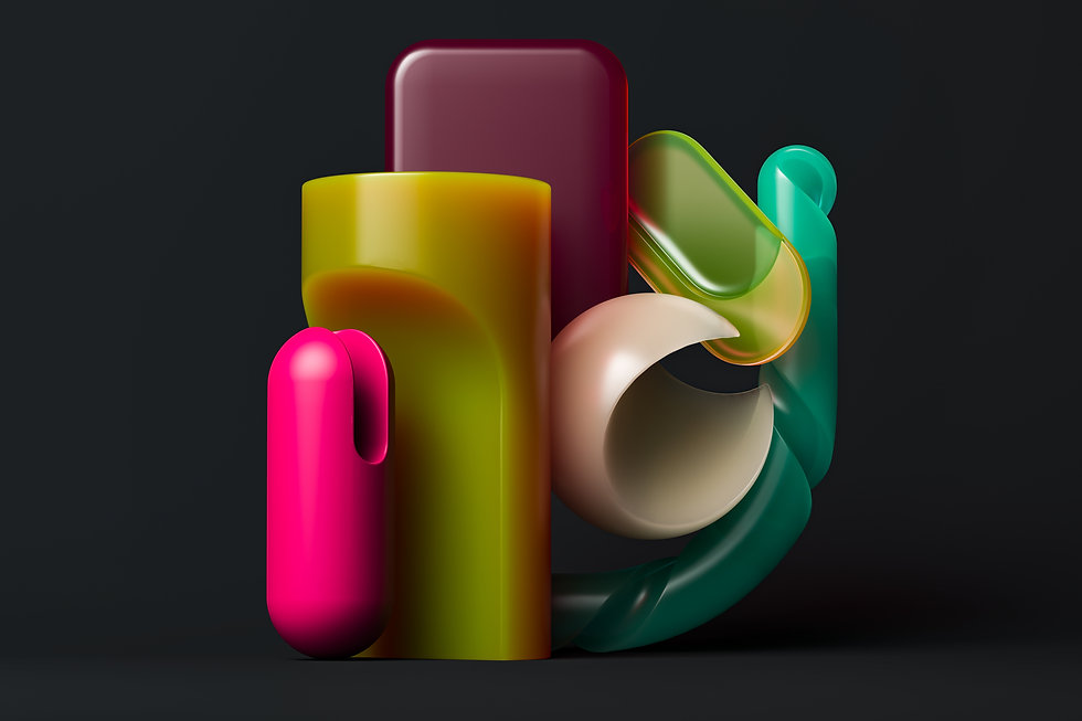 Composition of colorful plastic objects with different feel and finishes