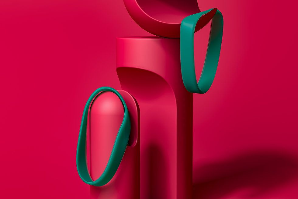 Matte finish plastic objects in magenta and green