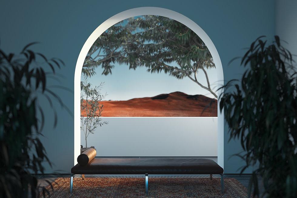 A Landscape through an arch window