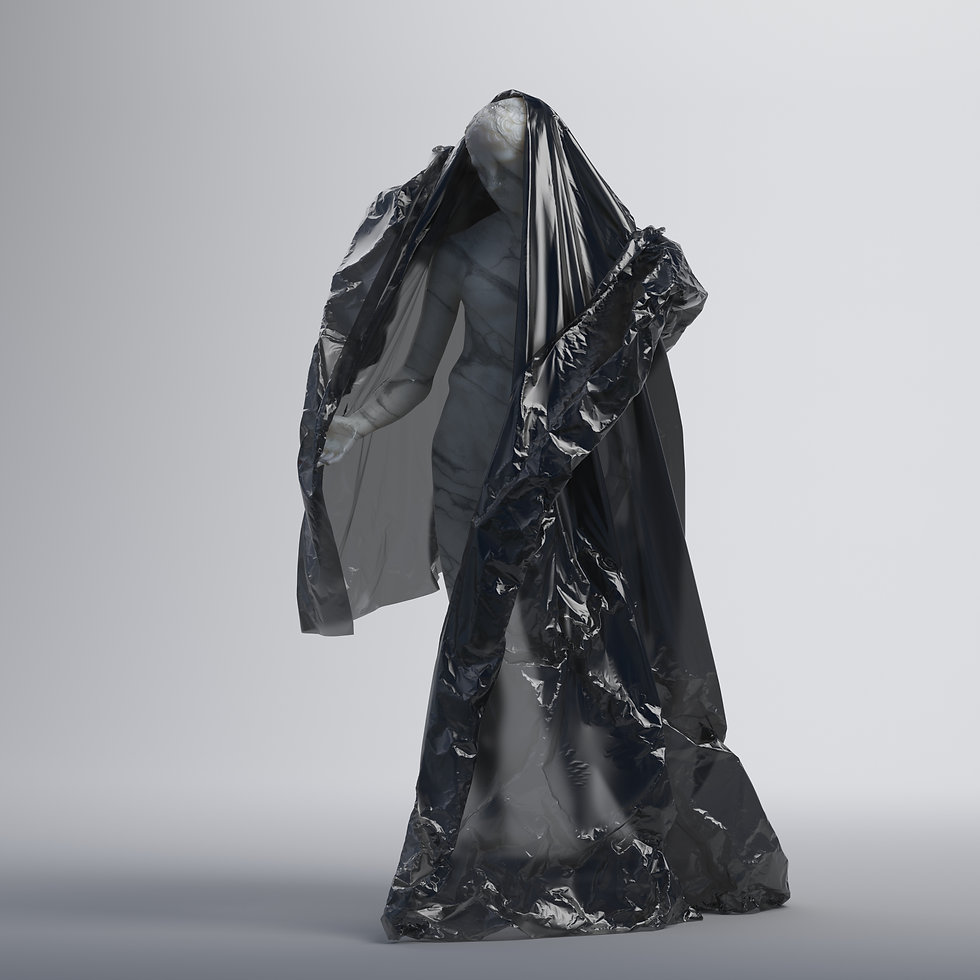 Full-body marble statue partly covered with a black plastic sheet